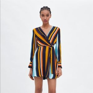 ZARA | NWOT MULTICOLORED STRIPED CROSSOVER DRESS